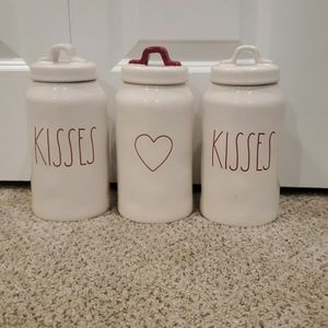 Set of 3 Rae Dunn Valentine Canisters